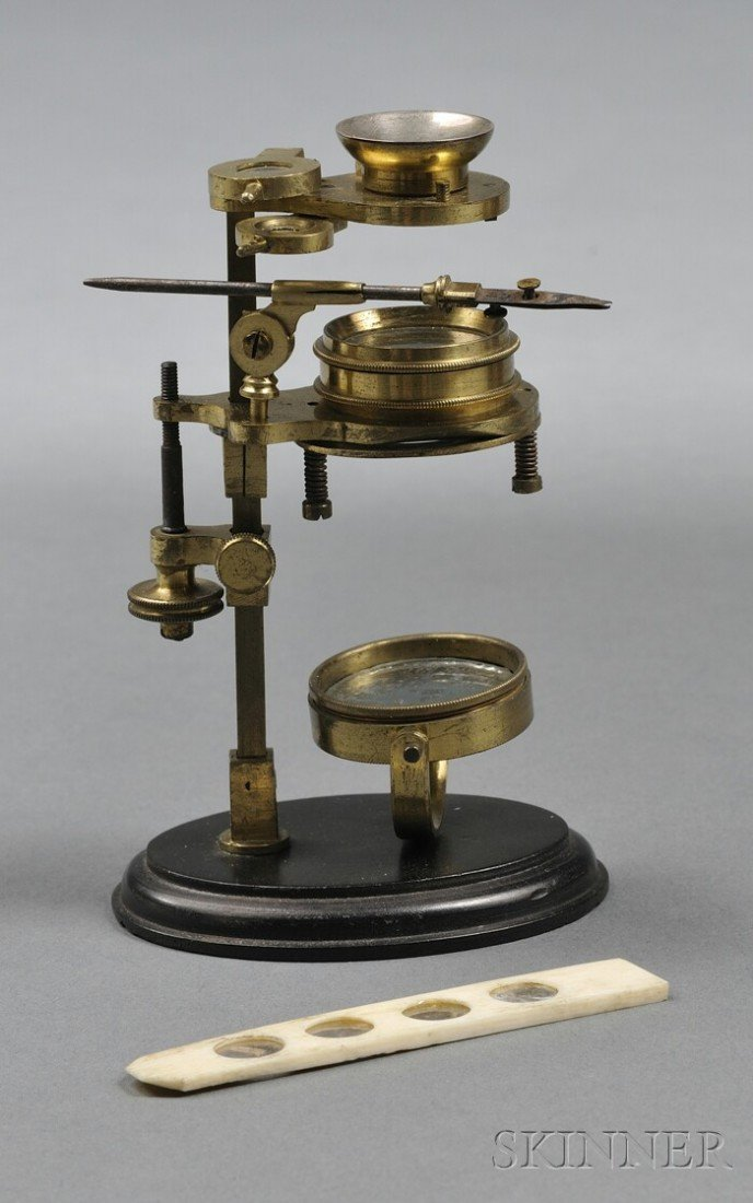 "22: Brass ""Simple"" Microscope on Stand, England, c. 180"