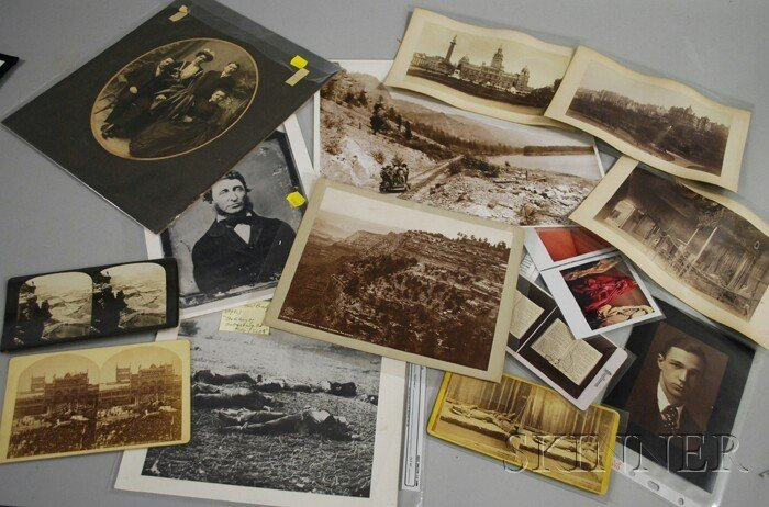 5A: Lot of Fourteen Stereoviews, Photographs and Photog