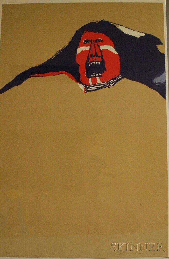 6: Fritz Scholder (American, 1937-2005) Red Indian. Sig