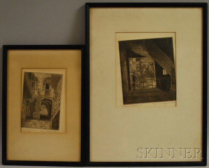 12: American School, 20th Century Two Etchings of New O
