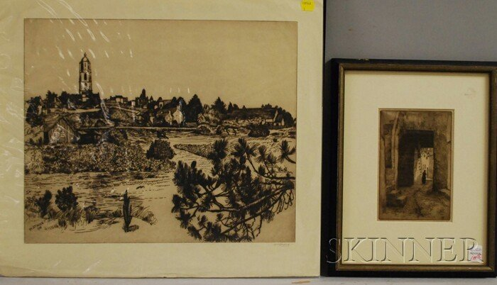 18: European School, 20th Century Lot of Two Etchings: