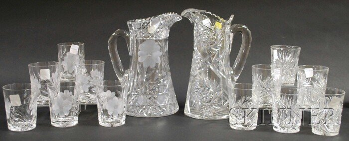 501: Two Colorless Cut Glass Beverage Sets, two sets of