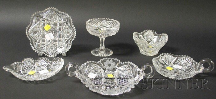 502: Five Colorless Cut Glass Dishes and Trays and a Co