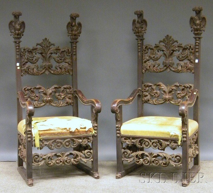 505: Pair of Italian Baroque-style Painted Carved Wood