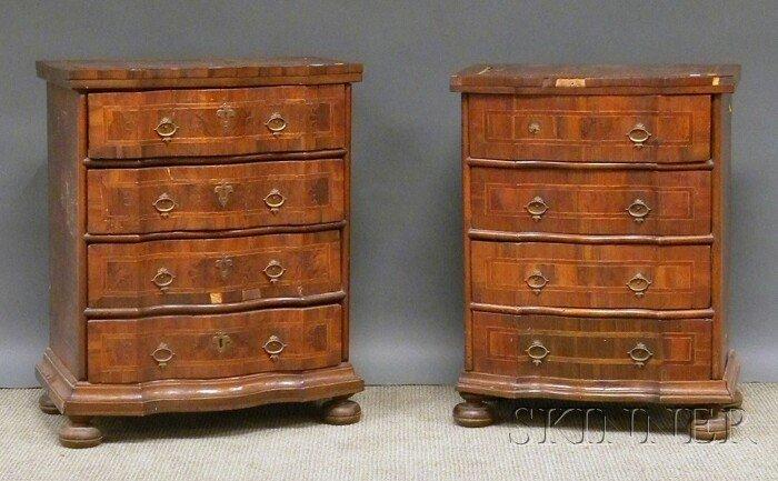 506: Two Similar Italian Baroque Walnut and Olivewood V