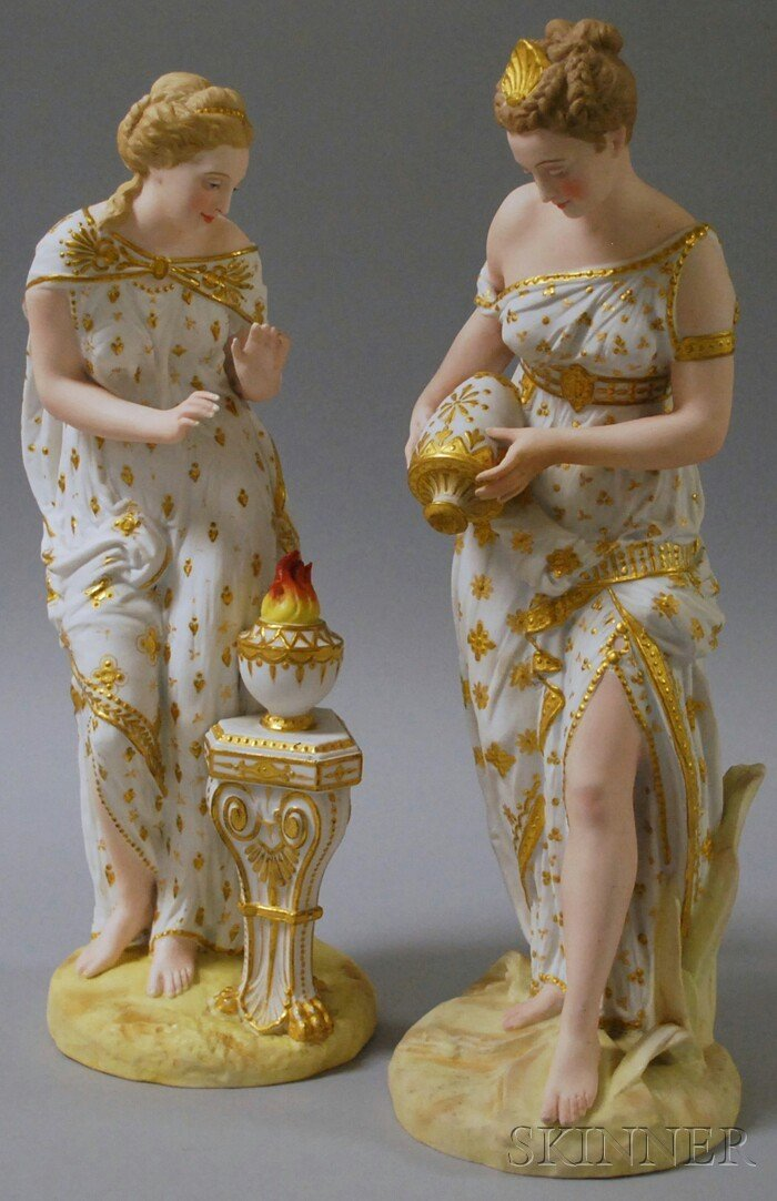 509: Pair of Continental Painted Bisque Classical Maide
