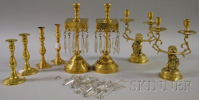 512: Four Pairs of Brass Candlesticks, including one pa