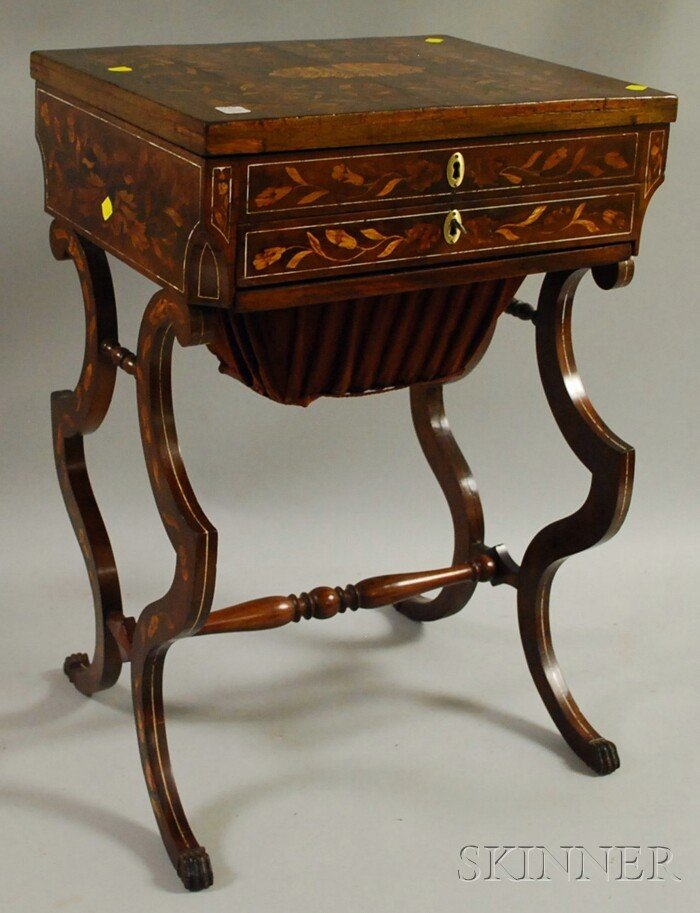 514: Dutch Marquetry-decorated Mahogany Lift-top Sewing