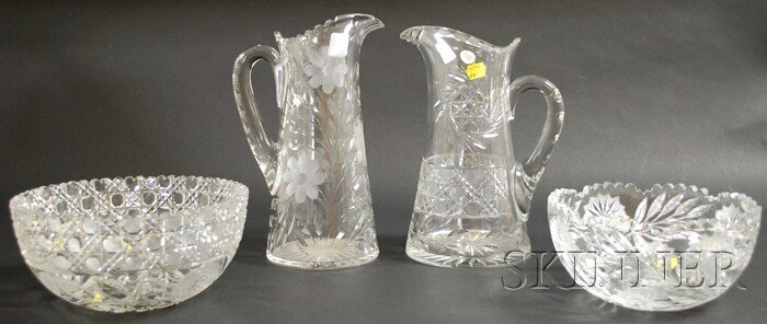 516: Two Colorless Cut Glass Pitchers and Two Bowls, pi
