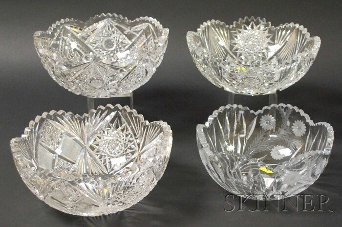 517: Four Colorless Cut Glass Bowls, ht. to 4 1/8, dia.