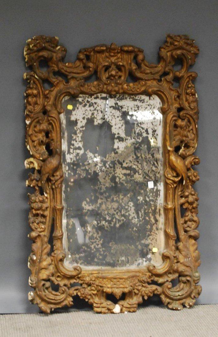 517A: Italian Rococo-style Gilt-gesso Mirror, (losses,