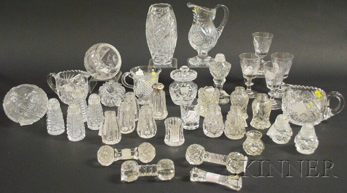 518: Thirty-five Miscellaneous Colorless Cut Glass Tabl