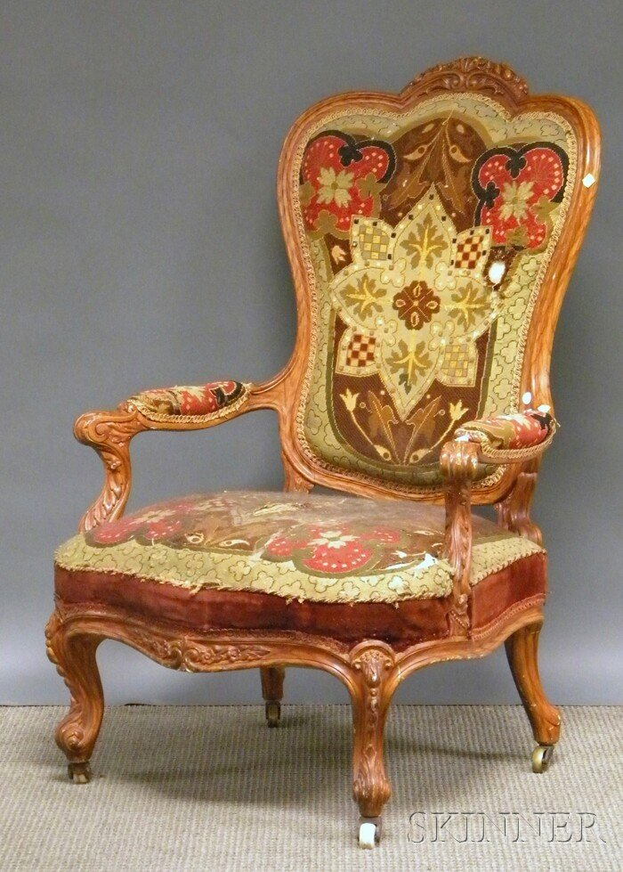 522: Victorian Needlepoint-upholstered Carved Wood Parl