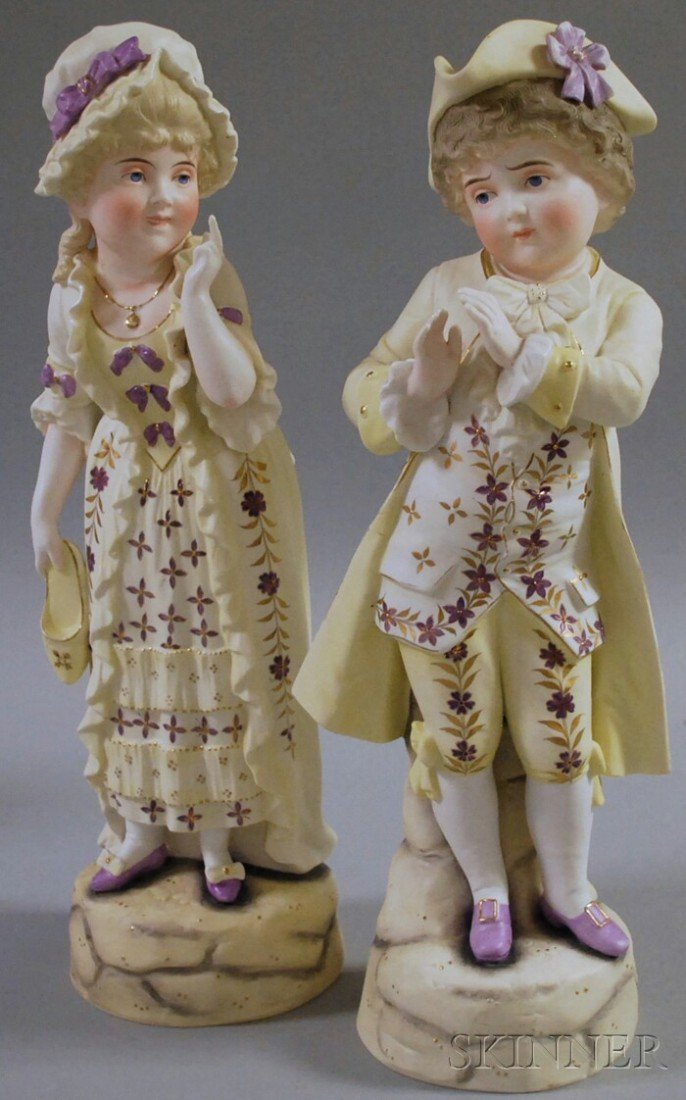 523: Pair of Continental Painted Bisque 18th Century-st