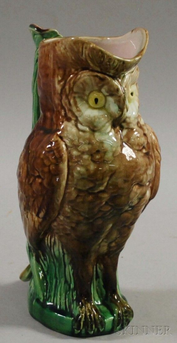Majolica Owl-form Pitcher, ht. 10 3/4 in.