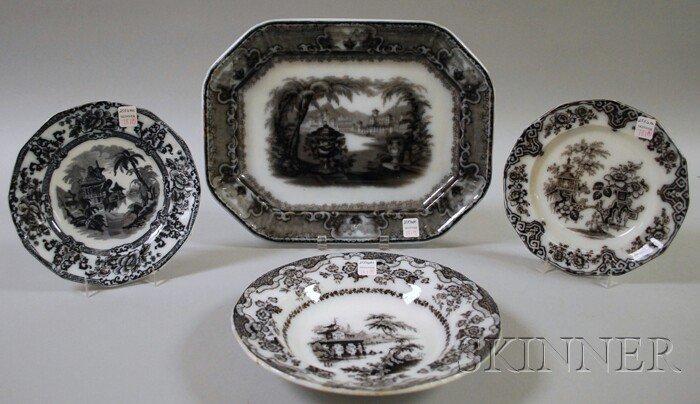 781: Three Staffordshire Mulberry Transfer-decorated Ir