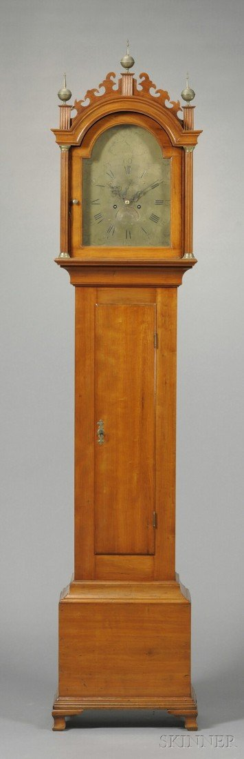 10: Carved Cherry Tall Case Clock, Asahel (b. 1759) and