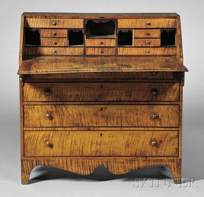 19: Federal Tiger Maple Slant-lid Desk, attributed to A