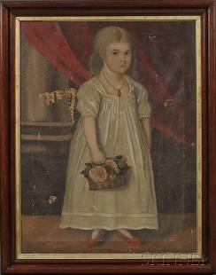 75: American School, 19th Century Portrait of Lavinia F