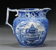 329: Two Blue Transfer-decorated Staffordshire Pottery