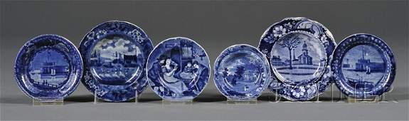 344: Six Blue Transfer-decorated Staffordshire Pottery