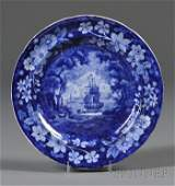 345: Blue Transfer-decorated Staffordshire Pottery Plat