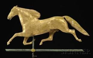 """865: Molded Gilt Copper """"Ethan Allen"""" Running Horse Wea"""