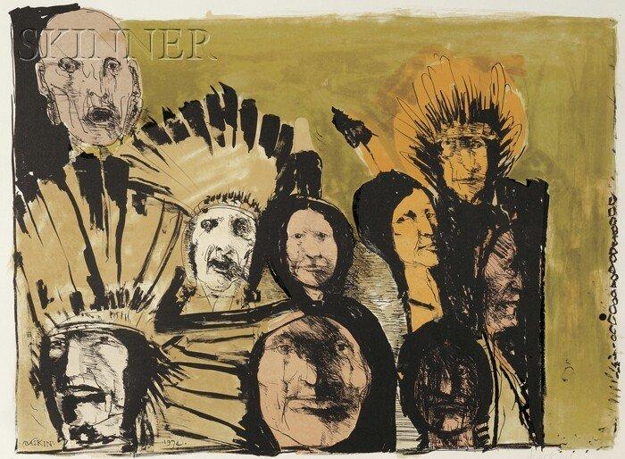 11: Leonard Baskin (American, 1922-2000) Indian Faces,