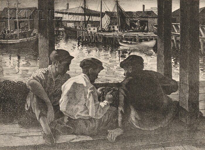 13: George Beline (American, b. 1887) Mending the Nets,