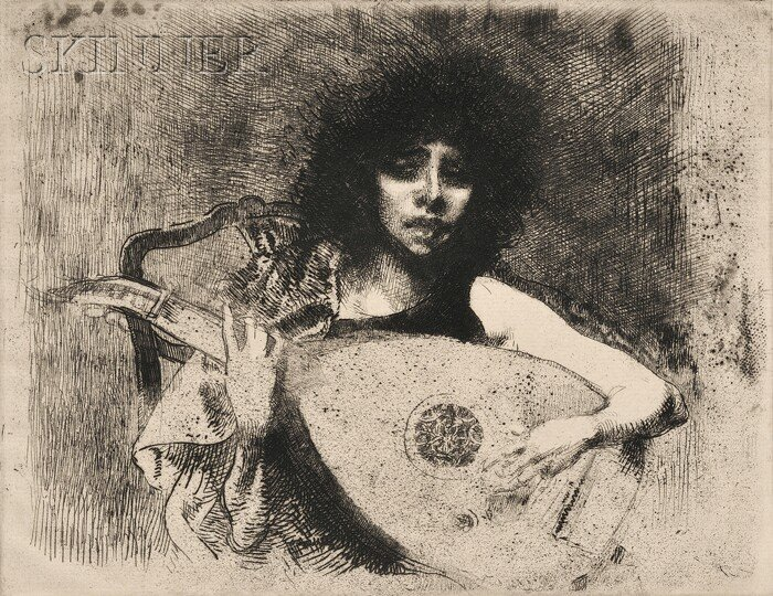 19: Albert Besnard (French, 1849-1934) La joueuse de lu