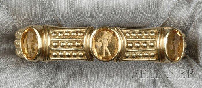 3: 18kt Gold and Glass Intaglio Bracelet, Judith Ripka,