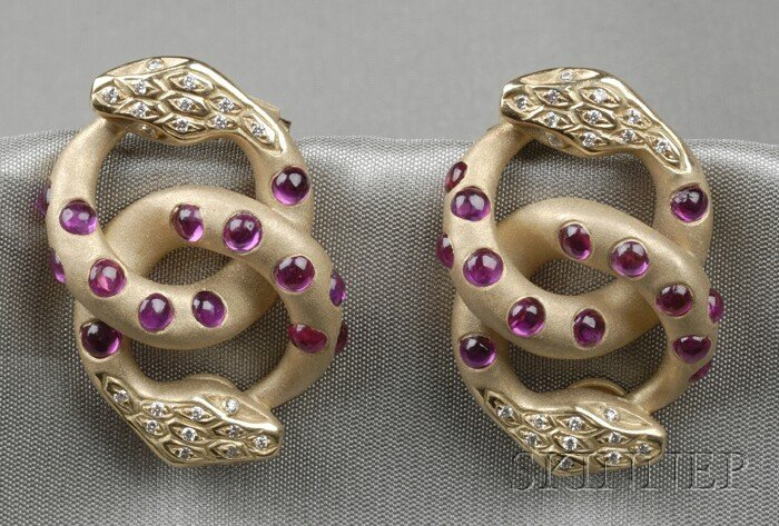 4: 18kt Gold, Ruby, and Diamond Earclips, Aletto Bros.,