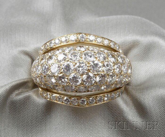5: 18kt Gold and Diamond Ring, Cartier, Paris, of bombe