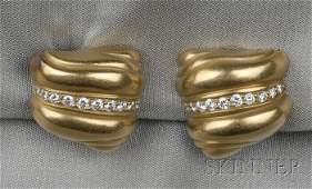 6 18kt Gold and Diamond Earclips Barry KieselsteinCo