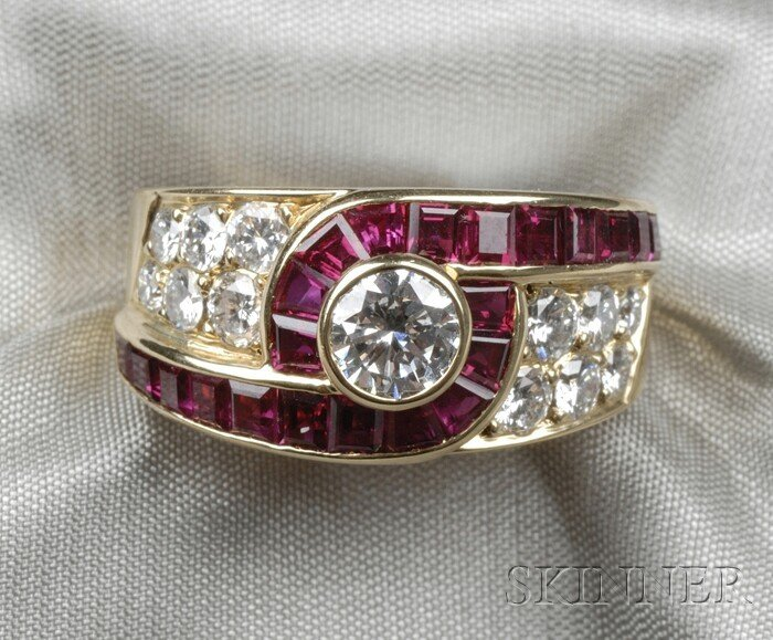 7: 18kt Gold, Ruby, and Diamond Ring, Van Cleef & Arpel