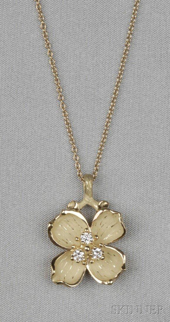 12: 18kt Gold and Diamond Dogwood Brooch, Tiffany & Co.