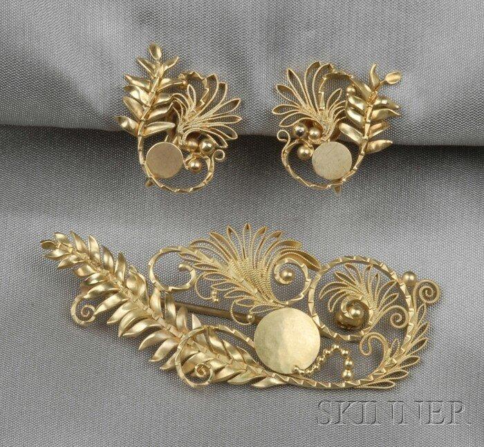 13: 18kt Gold Brooch and Earrings, Georg Jensen, design