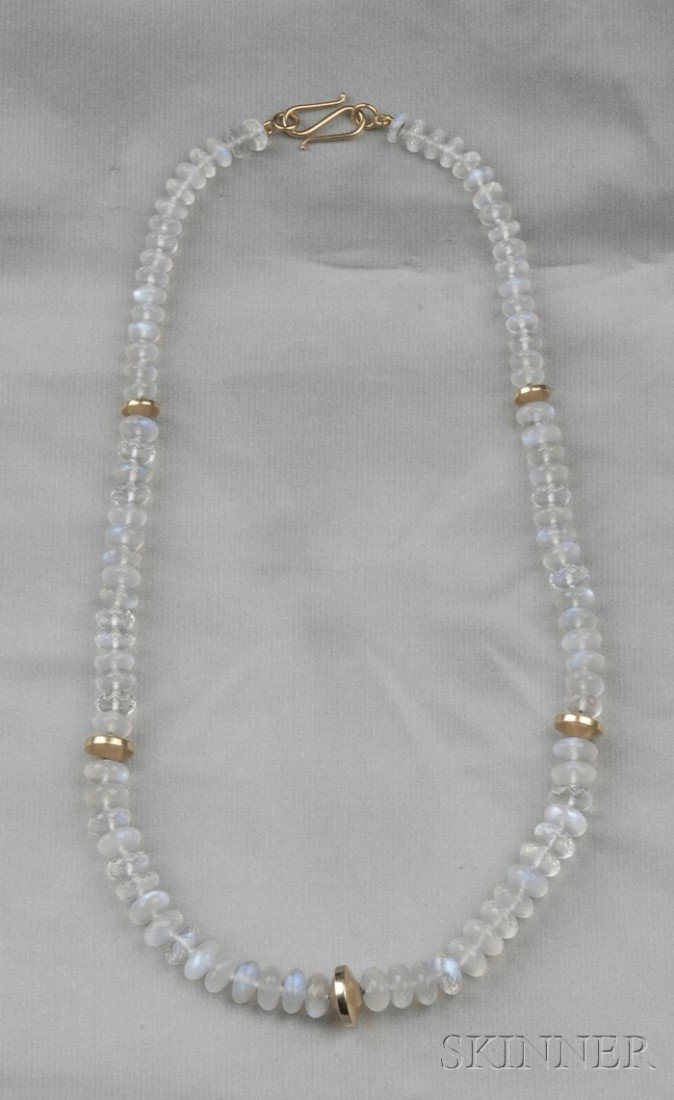 22: 18kt Rose Gold and Moonstone Necklace, composed of