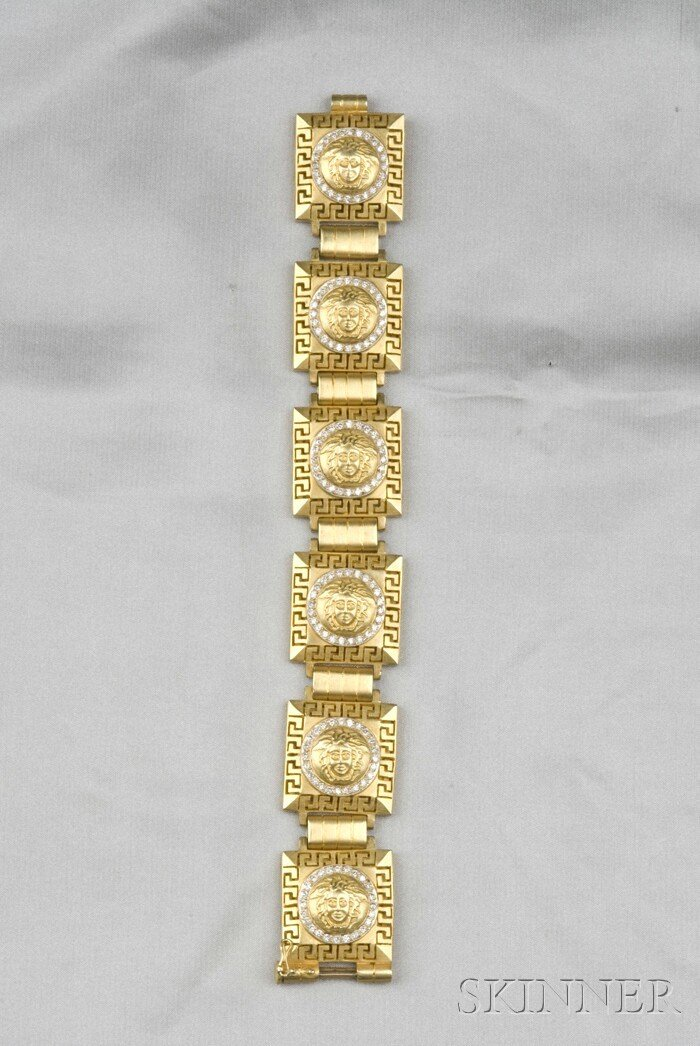 24: 18kt Gold and Diamond Bracelet, composed of six pla