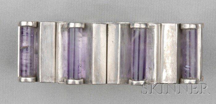 86: Mexican .970 Silver and Amethyst Bracelet, Antonio
