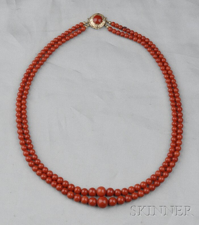 170: Coral Bead Necklace, comprised of two strands of c