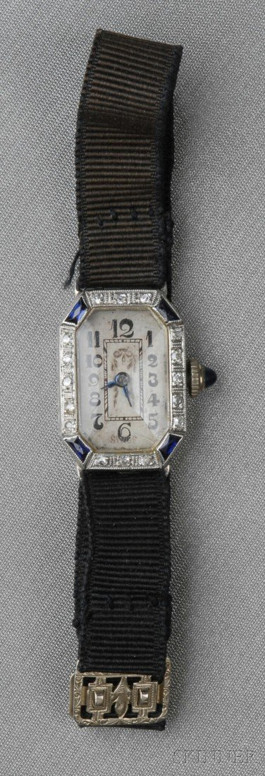 508: Art Deco Platinum and Diamond Wristwatch, the whit