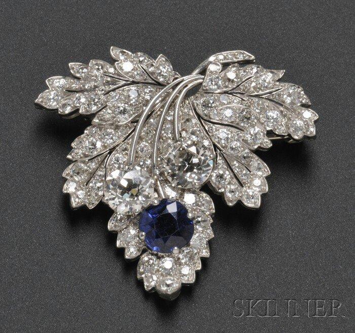 628: Art Deco Platinum, Sapphire, and Diamond Leaf Broo