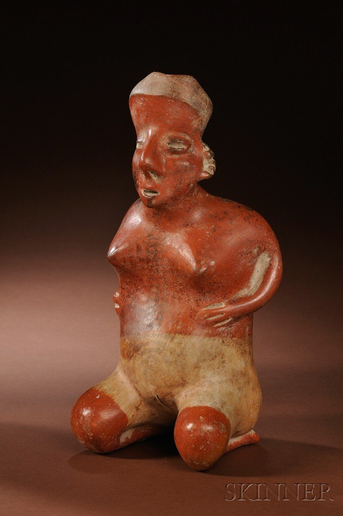 3: Pre-Columbian Painted Pottery Figure, West Mexico, J