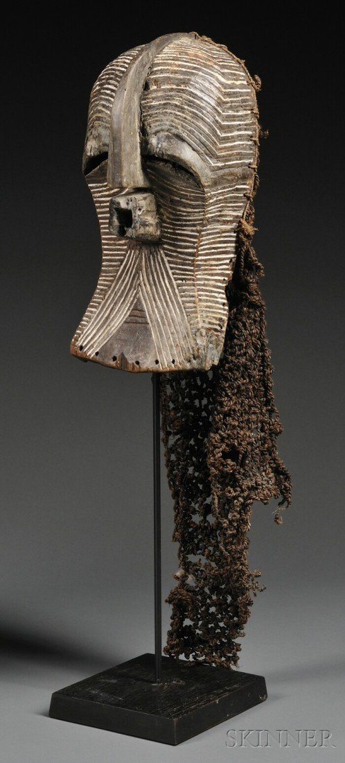 108: Songye/Luba Carved Wood Kifwebe Mask, the stylized