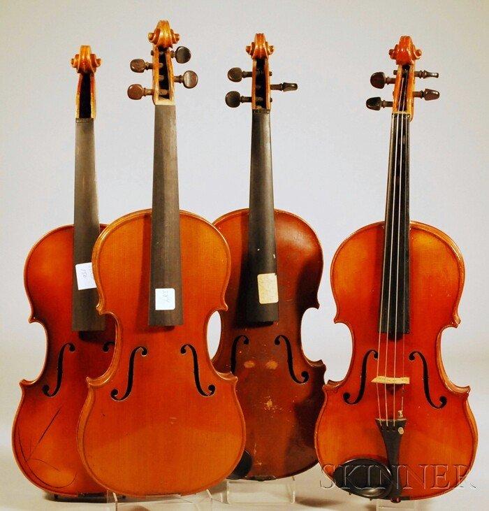 1: Four Modern German Violins, various makers.
