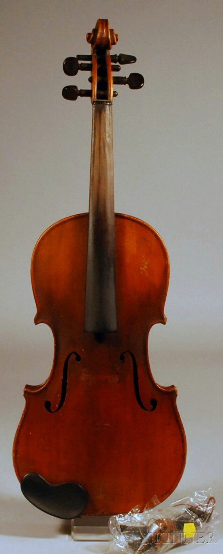 15: Violin, c. 1890, unlabeled, length of inlaid back.