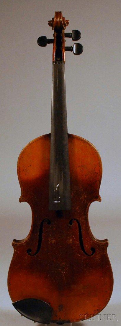17: German Violin, c. 1850, labeled MFR AUGUST MEINEL,