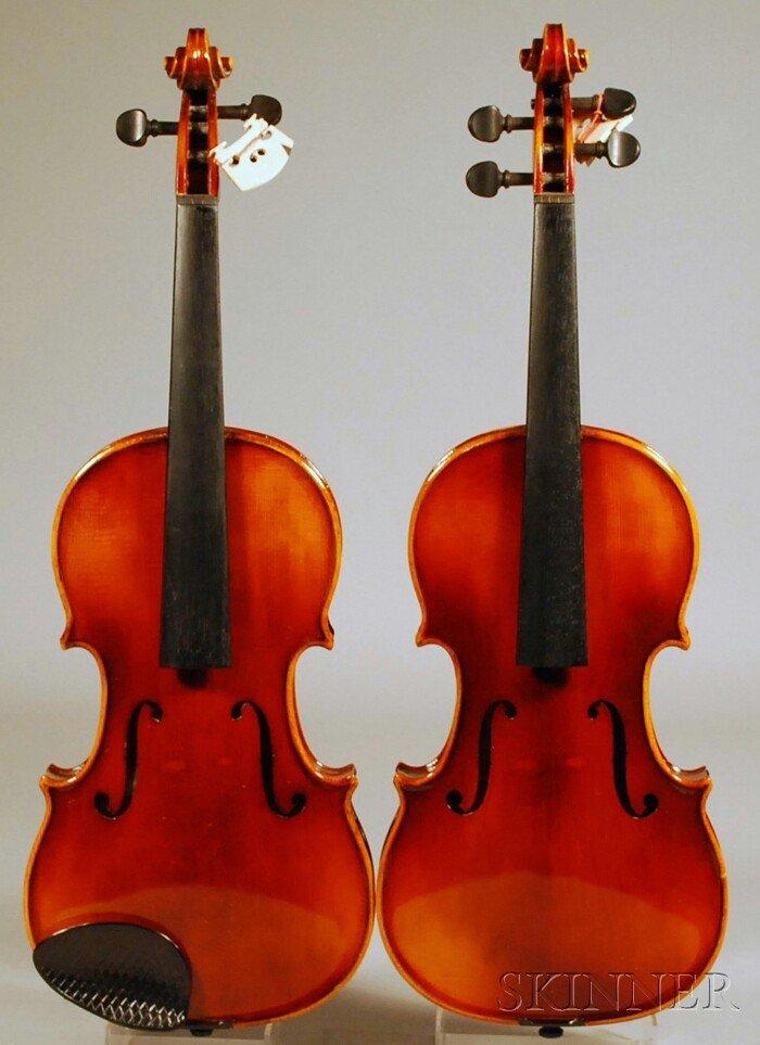 19: Two Child's Modern Violins, Anton Schroetter, Mitte