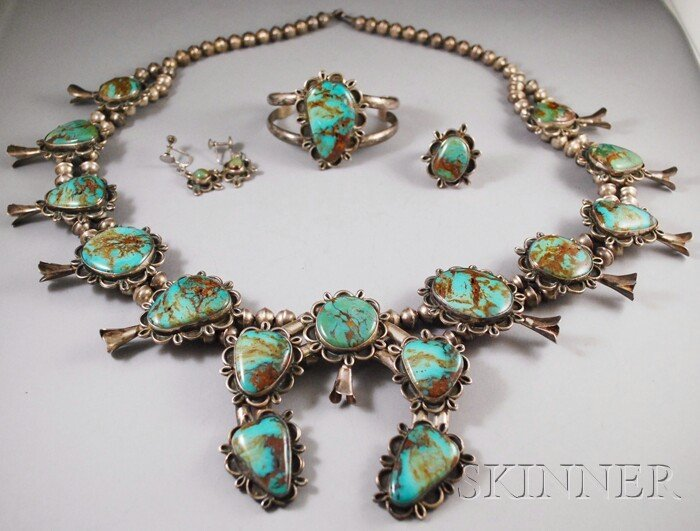 235A: Navajo Silver and Turquoise Suite, comprised of s